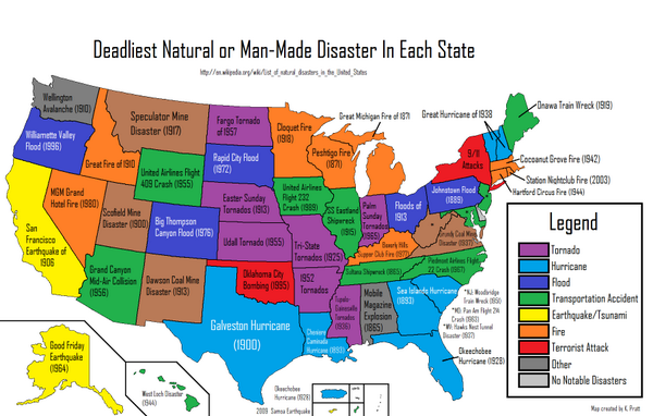 Amazing Maps On Twitter Deadliest Disaster In Each US State - Us natural disaster map