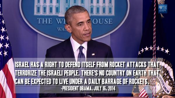 Obama: Israel has a right to defend itself...no country can be expected to live under a daily barrage of rockets http://t.co/eOaK2V1ja8