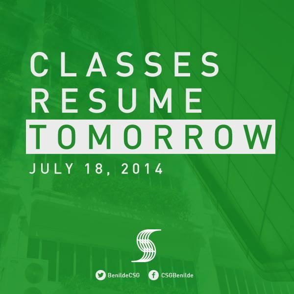 benildecsg classes resume tomorrow july 18 2014 pictwittercommam5ifyhrp ge
