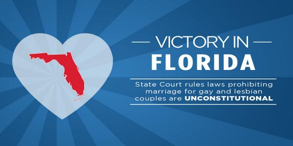BREAKING: Florida's marriage ban ruled unconstitutional http://t.co/kQyg77xq5d RT to spread the news. #time4marriage http://t.co/yB8BBC9ksw