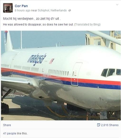 """A man believed to be on #MH17 posted this before flight took off. """"Should it disappear, this is what it looks like. http://t.co/gYyB0qG798"""