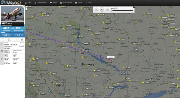 Malaysia Airlines flight #MH17 just before it disappeared over Ukraine. http://t.co/xvDHsEQtkg