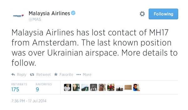 CONFIRMED: Malaysia Airlines has lost contact of #MH17 from #Amsterdam http://t.co/4nYqODD8HX @MAS http://t.co/GHhH8k40Xe