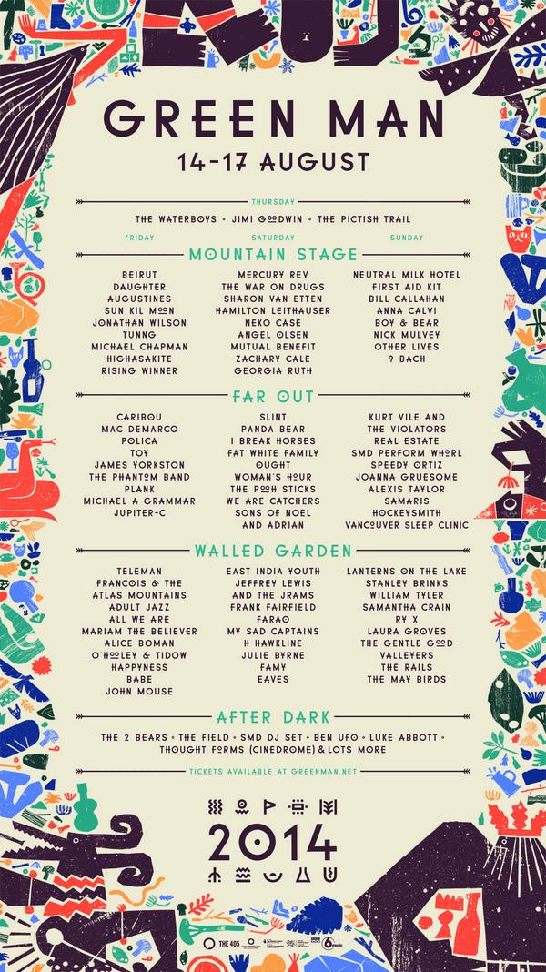 The #GreenMan14 running order folks! To win a pair of TICKETS plus a hotel BELL TENT, pls RT - http://t.co/KfL2s9C9LC http://t.co/AZA3YMoYDN
