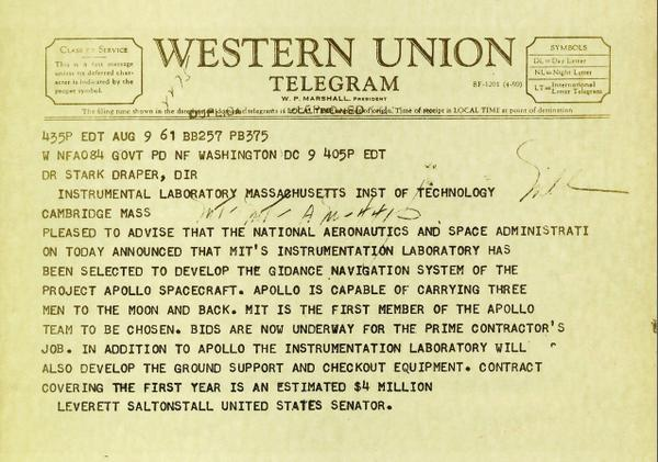 7-16-69 Apollo 11 left Earth 4 the moon. 8 years earlier we received this telegram - the 1st Project Apollo contract. http://t.co/EFIQfWl9AI