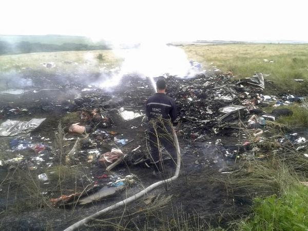 First picture from site of Malaysia Airlines Boeing 777 plane crash in Grabovo, #Ukraine #MH17 - @reuterspictures: http://t.co/JrvgsxqIqe