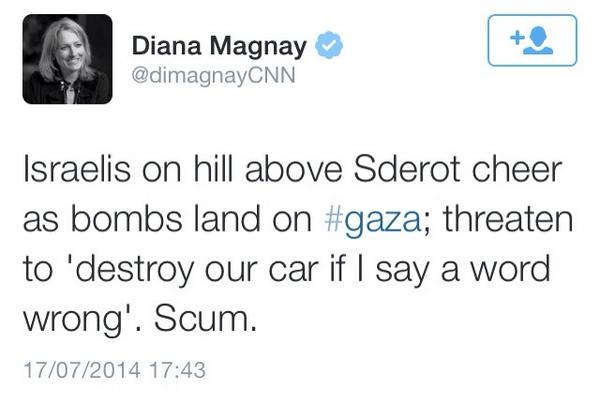 CNN Diana Magnay tweets/deletes callings Jews 'scum'