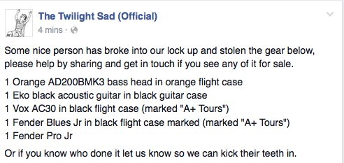 Please read: @thetwilightsad have had some gear stolen. Contact them if seen for sale etc. http://t.co/yoq5LYm0CR