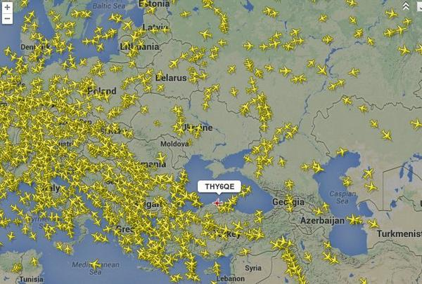 PHOTO Aircraft currently exiting, avoiding Ukraine airspace (via KarelXWB): http://t.co/hnjF0cFLFJ