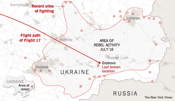 Malaysia Airlines #MH17 crashed in an area of Ukraine where rebels were active.  http://t.co/4dhhoRar3K http://t.co/kxkNg9NM23