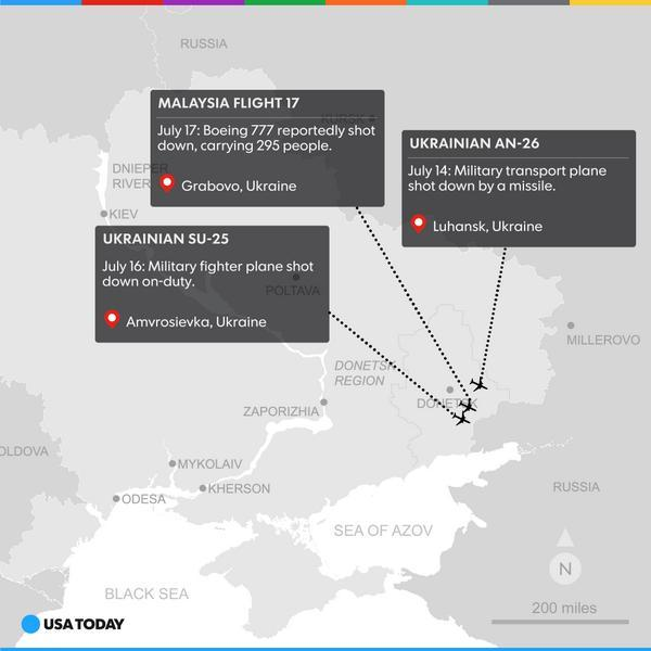Russian forces may want to deny shooting down #MH17 jet, but in the same area they've recently shot down other planes http://t.co/yE9zno3kUw