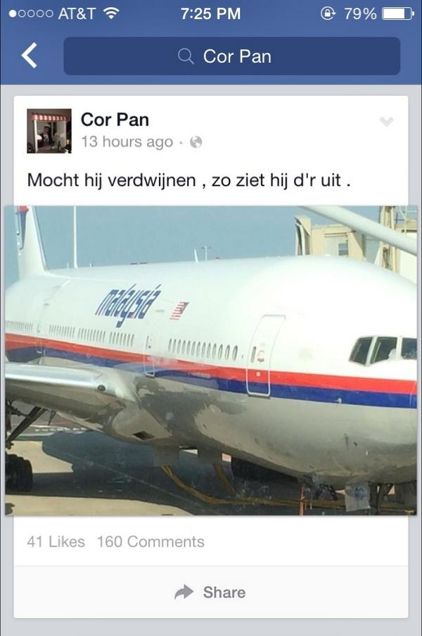 "Dutch passenger posted before boarding Malaysian Airlines #MH17.  ""If it disappears, this is what it looks like"" http://t.co/3gUjx8iNNX"