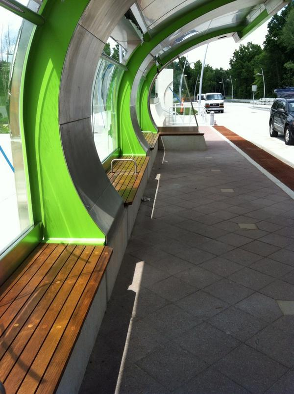 Teak benches at the Cedar Street @ctfastrak stop.  Thanks for the tour today! http://t.co/xg6My4zdZD