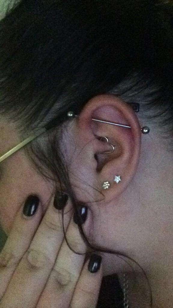 Stacey On Twitter My Industrial Piercing And Daith Heart