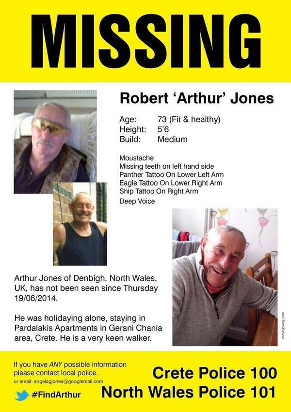 73 yr old Arthur Jones from #Denbigh is still missing in #Crete #Greece. Keep the appeal going. Please RT #FindArthur <br>http://pic.twitter.com/X3GVQ2Xa0Y