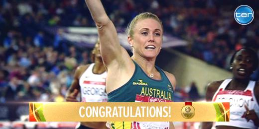 She's done it! @sallyp100h wins GOLD in the 100m hurdles! RT to congratulate her! #GoAUS http://t.co/DcBEiGX7ic