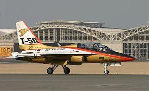 T-50 韓国の高等練習機。ロッキードと共同開発。高等練習機として必要十分な性能してるから準韓国製という偏見だけで評価してはしてはいけない(戒め)軽爆撃機にもなるけど練習機にその手の任務をさせるのはよくあることだゾ
