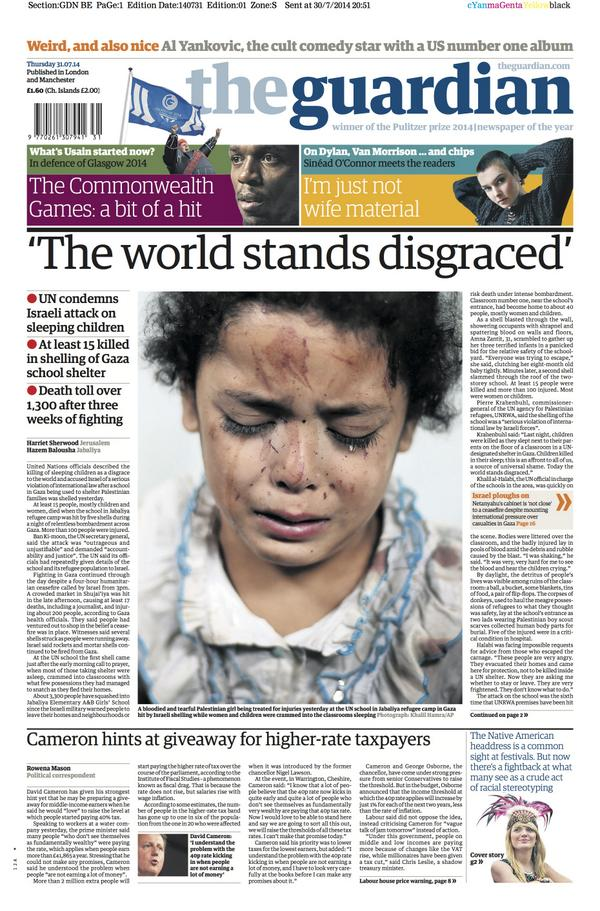The Guardian front page, Thursday 31 July 2014: 'The world stands disgraced' http://t.co/KG8foRd8xG