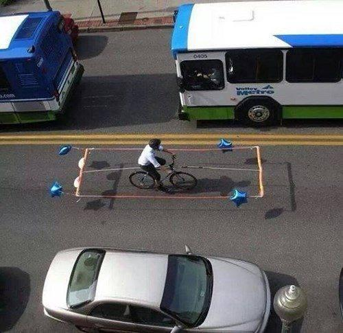 If the government won't build you a bike lane... Make your own! http://t.co/ygJl9tZj3i