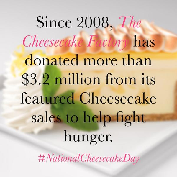 Here is a fun fact from The @Cheesecake Factory! #NationalCheesecakeDay #Cheesecake http://t.co/0KcMmO3Z8t