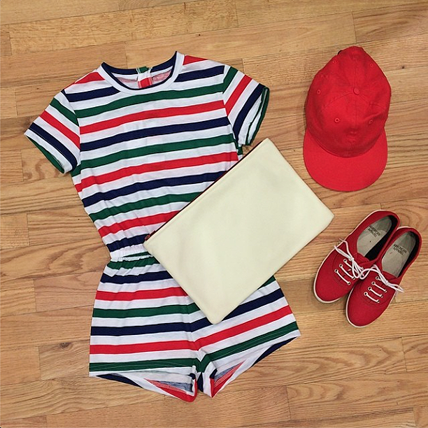 Keep it casual in the Stripe T-Shirt Romper, Basic Cap and Tennis Shoe!: http://t.co/XiIk6LxoIq http://t.co/hyyMdLtwOr