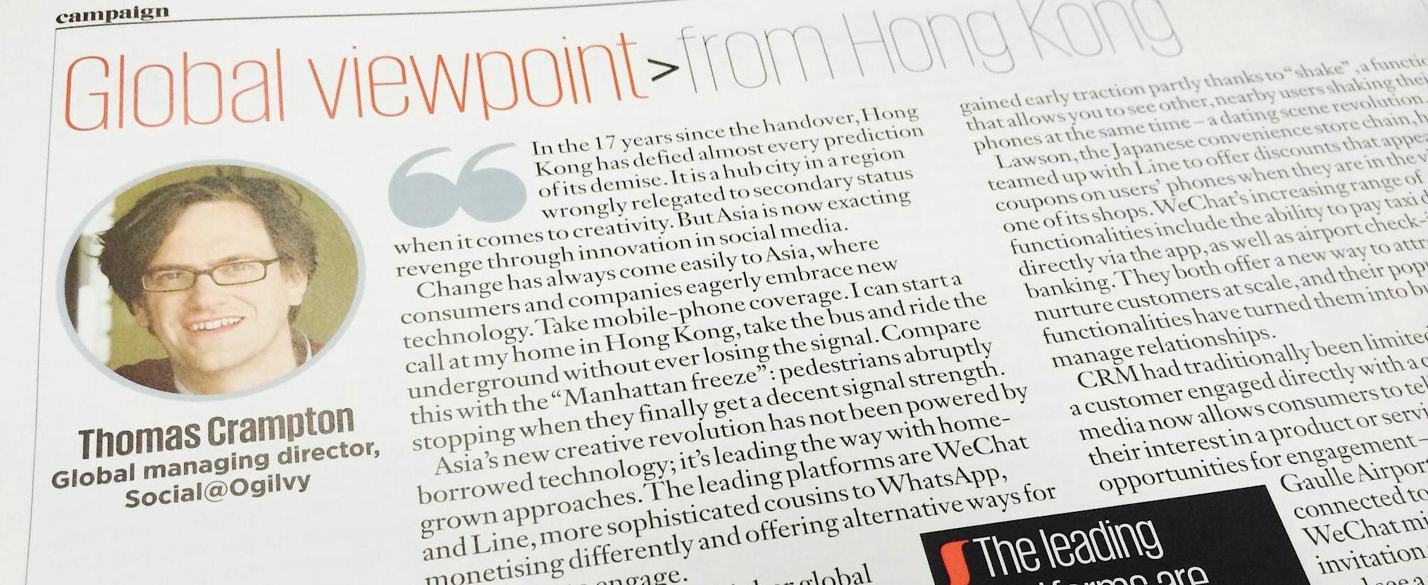 RT @OgilvyUK: Morning read of Global viewpoint from @SocialOgilvy's, @ThomasCrampton in @Campaignmag http://t.co/x0puDw3tsX http://t.co/n1W…