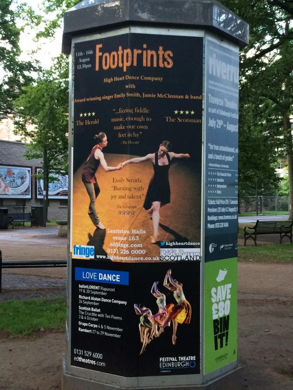 HUGE posters are out and about for Footprints 11th - 16th August! @EmilySmithmusic @jamiemcclennan @MadeinScotShows http://t.co/jPhnnEcUeS