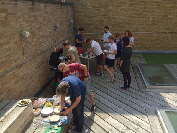 the Clearleft team enjoying BBQ