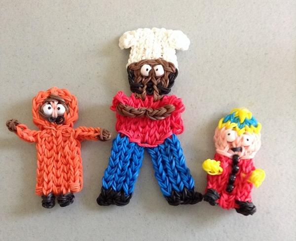Loom band crazy! These mini @SouthPark characters are looming marvellous #cartman #kenny #chef http://t.co/6khJaJNA1g