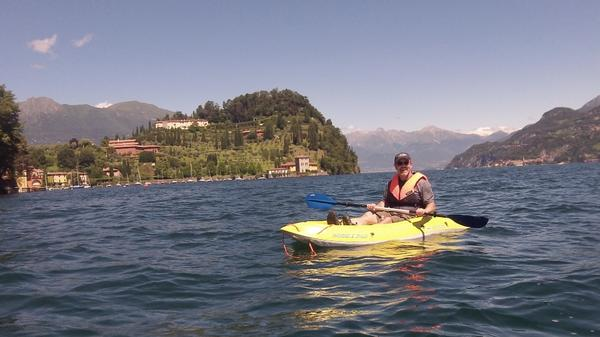 Seeing #LakeComo from its best angle, @ClaySquire on the water. Thanks, #Bellagio Water Sports #Kayak Club! http://t.co/RXyCC0T3zs