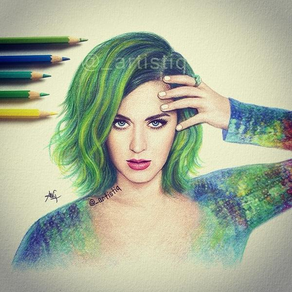 Dear god it's amazing RT @_artistiq: Katy Perry, drawn with colored pencils.