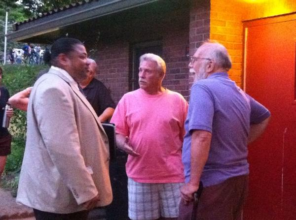 Councilman Joe Kirkland talks to two constituents, including Bruce Madara. http://t.co/Hr900v5Z0C