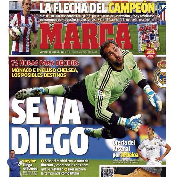 Chelsea are trying to offload Petr Cech to PSG and sign Real Madrids Diego Lopez [Marca]