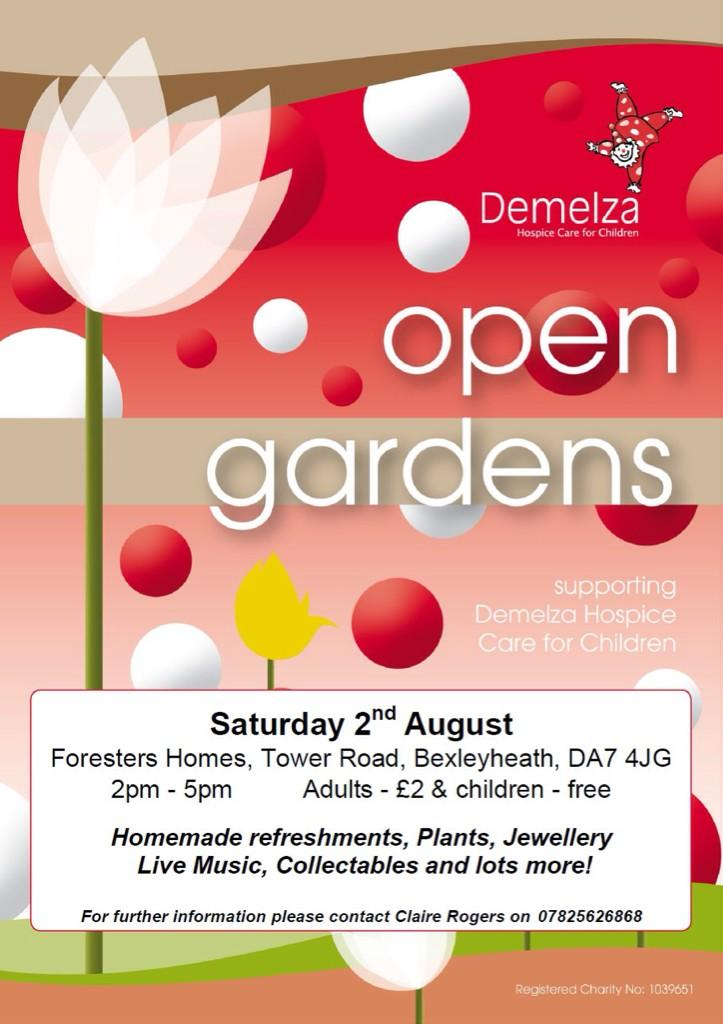 RT @DemelzaHospice: Open Garden - Sat 2nd Aug, 2-5pm. Foresters Homes #Bexleyheath, DA74JG. Refreshments, live music & lots more stalls! ht…