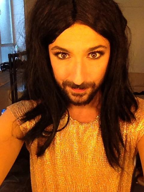 Living out my Conchita Wurst fantasy at last! Thanks @RudeTube and @E4Tweets http://t.co/DH8jBFrdH0