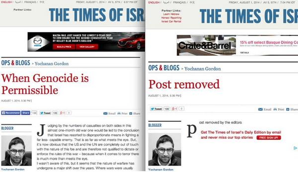 """Times of Israel publishes """"When Genocide is Permissible"""" then removes it after outrage hits Internet.  http://t.co/SZtANG2C5m #Gaza"""