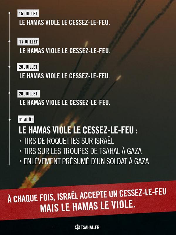 Le Hamas est systématiquement celui qui viole les cessez-le-feu humanitaire acceptés par Tsahal. RT cette réalité