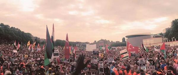 Incredible street mobilisation in the Netherlands,  which is rare, but they're out for #Gaza http://t.co/pPcbHBg21Y