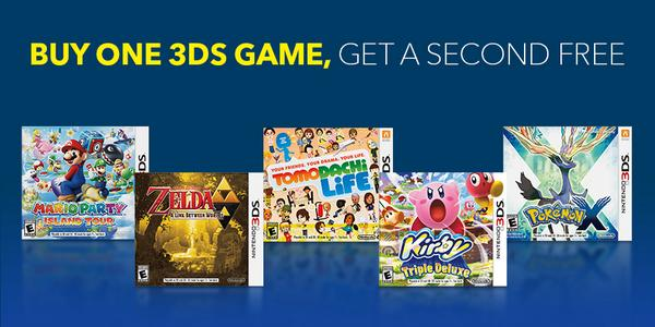 Buy 1, get 1 FREE select #Nintendo 3DS games including #TomodachiLife #Pokemon #Zelda & more. http://t.co/uSY07S79q7 http://t.co/rnF9JSLL0r