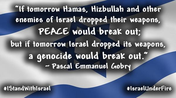 I stand with #Israel and I believe Israel has the right to defend itself.  #IsraelUnderFire #Gaza http://t.co/xvJ7faCMrp