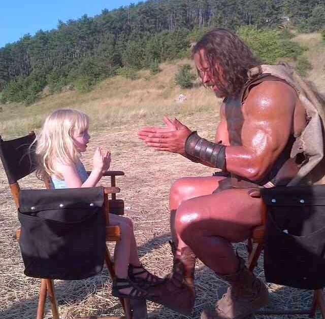 RT @TheRock: When a 2yr old asks HERCULES to play patty cake on set.. well.. he plays patty cake. #HERCULESMovie http://t.co/vCHPbSi70G