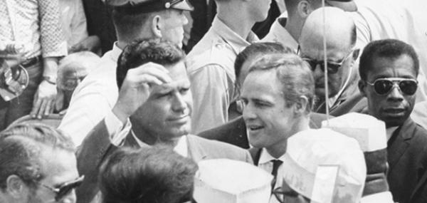 Paul Newman, left, James Garner, Marlon Brando, and James Baldwin at the March on Washington for Jobs and Freedom. http://t.co/HSAPLHWspx