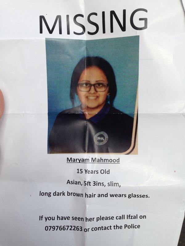 Missing Accrington girl. Can you help? Maryan Mahmood went missing over the weekend. She's 15yrs old. TEL 07976672263 http://t.co/9CdkMMMSdC