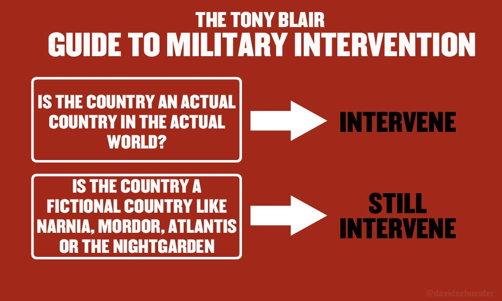 To celebrate 20 years since Tony Blair became Labour leader, here's his handy guide to military intervention http://t.co/UYhSmAPqQi