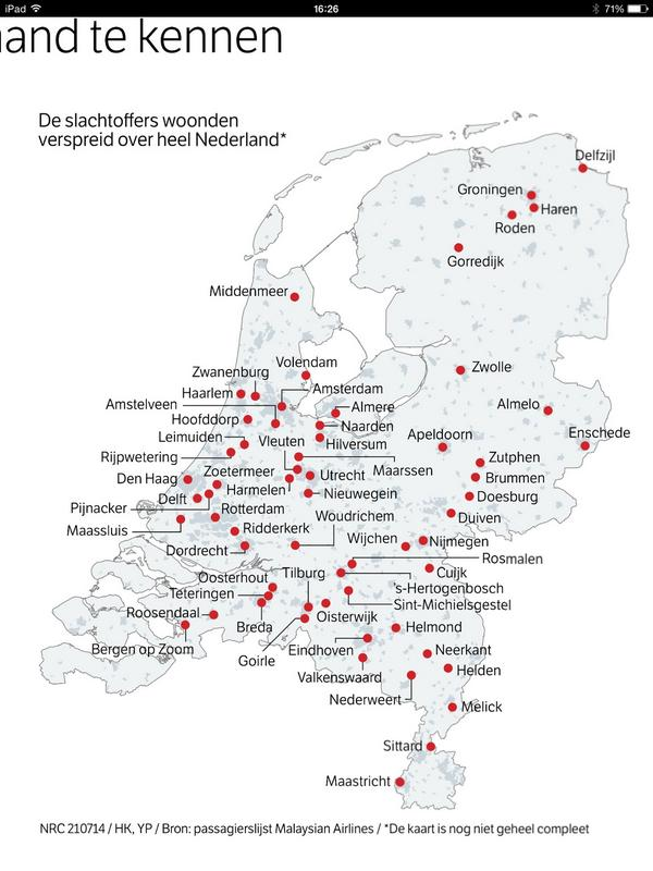Waarom we allemaal iemand lijken te kennen op #MH17? Slachtoffers woonden verspreid over Nederland. http://t.co/cqzbjuyWJV