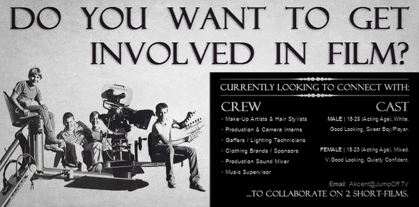 ** WANTED! ** » #MUA & #HairStylist » #ClothingBrand » #SoundMixer » #Gaffer Interested in FILM? ...GET INVOLVED NOW! http://t.co/A3MReUMUIH