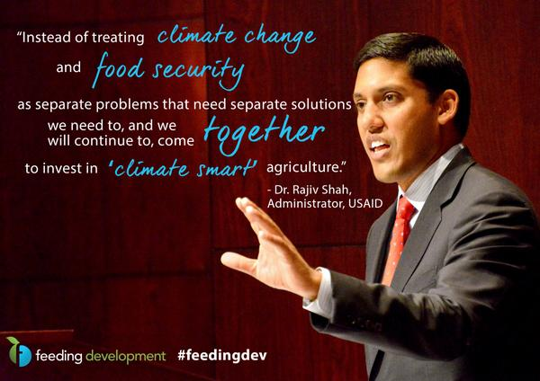 .@rajshah points to climate smart ag as a solution for #foodsecurity. Learn more: http://t.co/mDN3SOVpSa #feedingdev http://t.co/19B19cg7PI
