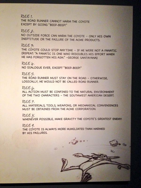 """""""No dialogue ever, except Beep, beep!"""". Las 9 reglas de El Coyote y El Correcaminos #ChuckJones http://t.co/Y3Wri7XiEm"""