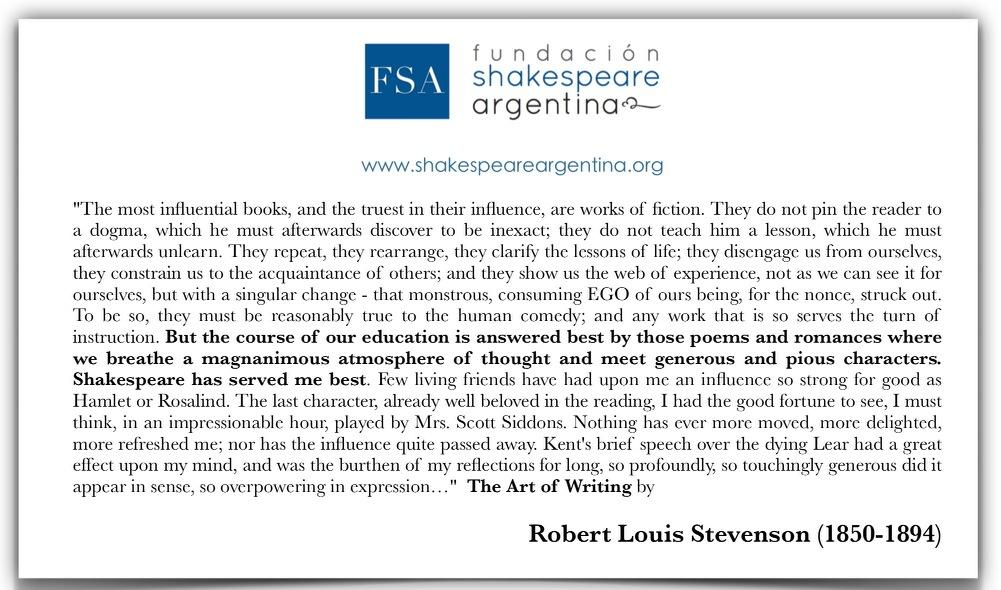 Twitter / ShakespeareArg: Robert Louis Stevenson on ...