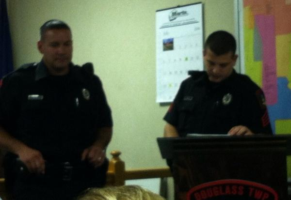 Township's newest officer, Gregory Sedgewick, left, is welcomed at supervisors meeting. http://t.co/M1dwjUaorb